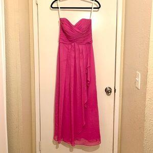 Long Crinkle Chiffon Bridesmaid Dress